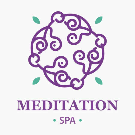 meditation spa logo in sweet purple and green colors  イラスト・ベクター素材