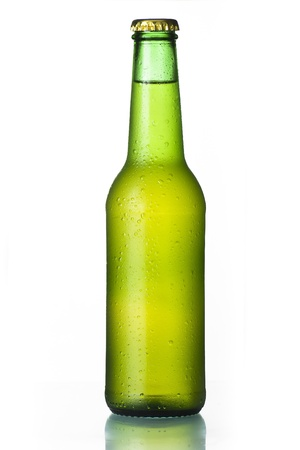 dew cap: Cold frosted beer bottle on white background