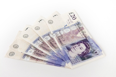 A stack of £20  Great British Pounds bank notes
