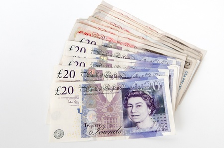 A stack of £20 and 50  Great British Pounds bank notes