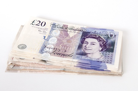 A stack of �20  Great British Pounds bank notes