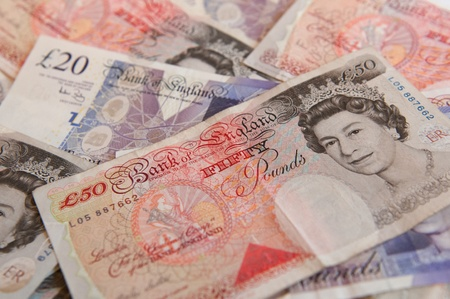 A stack of £50  Great British Pounds bank notes