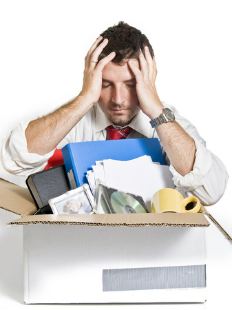 Desperate Man with Cardboard Box fired from Job photo