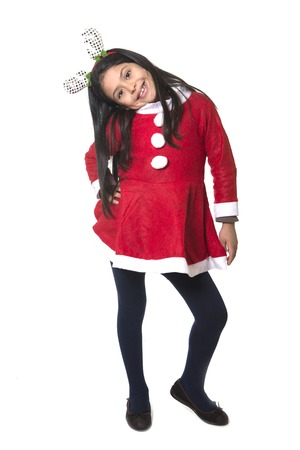 hairband: Little girl in Santa Claus costume and Reindeer antlers hairband