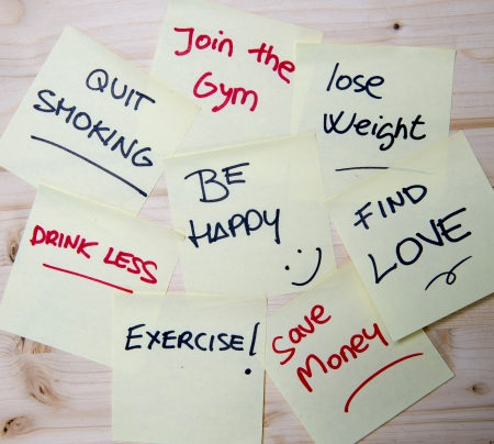 resolution: Group of New year Resolutions written on Post it Notes