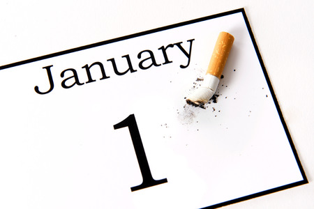 abstain: New Years Resolution quit smoking isolated on white background
