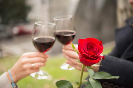 close up of a single rose with a romantic couple drinking wine in the background photo
