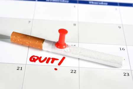 bad plan: Calendar Resolution quit smoking isolated on white background
