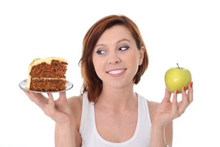 tentative: Young Attractive Woman Dessert Choice Junk Cake Food or healthy Apple