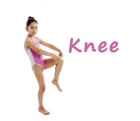 full length girl wearing a pink swimsuit pointing at her knee on a white background for a school anatomy or body part chart