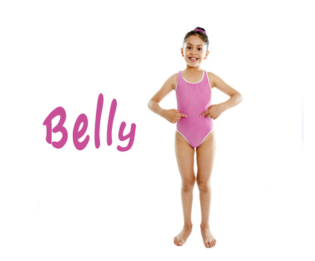 full length of girl wearing a pink swimsuit pointing at her stomach on a white background for a school anatomy or body part chart photo