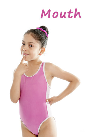 girl wearing a pink swimsuit pointing at her month on a white background for a school anatomy or body part chart photo