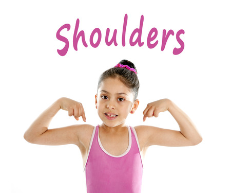 body parts:  girl wearing a pink swimsuit pointing at her shoulder on a white background for a school anatomy or body part chart