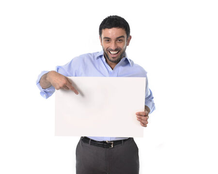 happy young attractive business man holding blank billboard for adding corporate text or marketting campaign using empty card as copy space isolated on white blackground photo