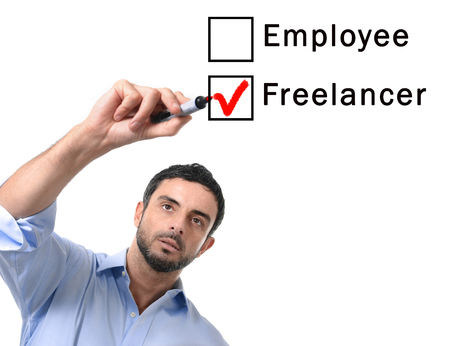 freelancer: young handsome business man choosing freelancer to employee option at work formular ticking box with red marker on glass isolated on white background in self-employed versus company salary and freelance working concept