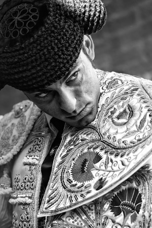 capote: MADRID, SPAIN - 29th August 2010. Bullfighting Fiesta. The matador from Venezuela CALIFA DE ARAGUA concentrates and gets ready for the bullfight  at the Plaza de toros de las Ventas Venue