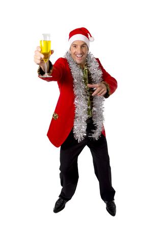 happy drunk rake senior businessman in Champagne Christmas toast celebrating xmas party at work wearing Santa hat and red jacket isolated on white background photo