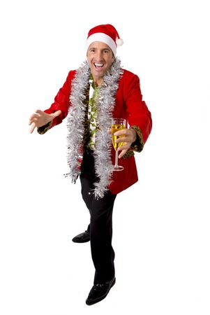vulgar: happy drunk rake senior businessman in Champagne Christmas toast celebrating xmas party at work wearing Santa hat and red jacket isolated on white background