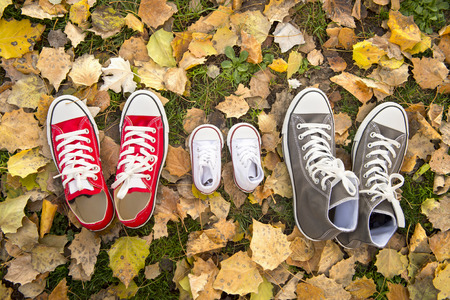 representing: three pair of shoes in father big, mother medium and son or daughter small kid size in grass park with Autumn leaves representing family, growth, education and togetherness concept