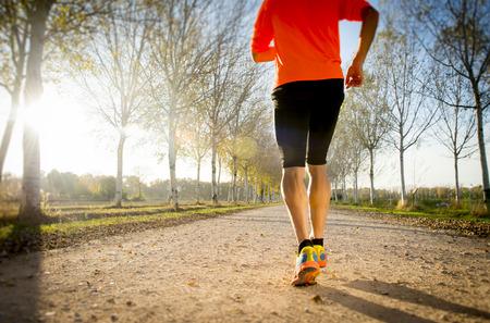 atleta corriendo: deporte hombre joven con fuertes pantorrillas muscular correr al aire libre en la pista todo terreno carretera con árboles bajo la luz del sol hermosa del otoño en la aptitud, entrenamiento campo y el concepto de estilo de vida saludable
