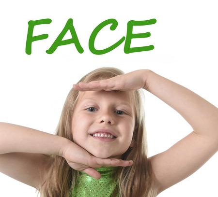 blonde yeux bleus: 6 ou 7 ans petite fille aux cheveux blonds et yeux bleus souriant heureux posant isolé sur fond blanc montrant le visage dans l'apprentissage de la langue anglaise enseignement scolaire carte des parties du corps ensemble