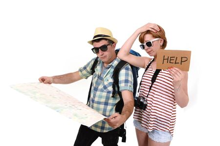 confused face: young tourist couple reading city map looking lost and confused loosing orientation with girl carrying travel backpack and man in frustrated face expression asking for help isolated in white