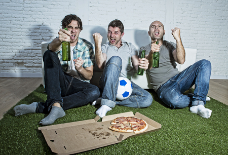 fanatics: group of friends fanatic football fans watching soccer game on television celebrating goal on grass carpet emulating stadium pitch screaming excited and ecstatic crazy happy with beer and pizza