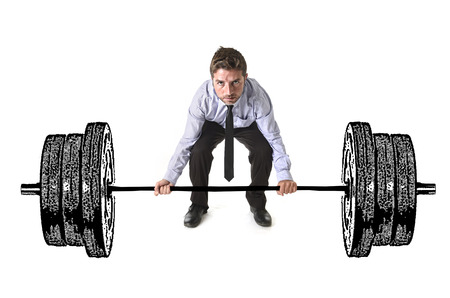 obligations: composite young attractive businessman power lifting heavy dumbbelll weights metaphor to cost of living , obligations taxes and bills payment in burden and struggle concept isolated on white background