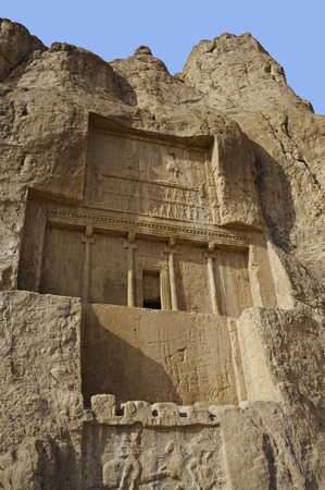 fars: Naqsh-e Rustam Persian ancient necropolis northwest of Persepolis in Fars Province Iran with ancient Iranian rock relief in the cliff from Achaemenid  Empire and Sassanid period