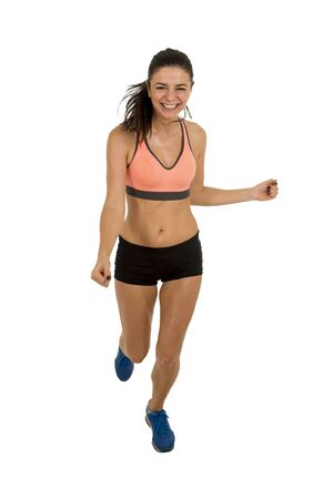 sport clothes: young attractive sport woman in fitness clothes smiling happy in aerobics  training workout isolated on white background in sport healthy lifestyle concept