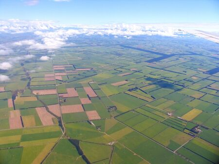 New Zealand Farmland Aerial View Stock Photo