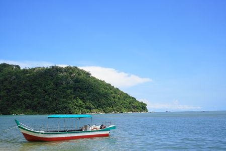 Penang National Park And Boat Stock Photo