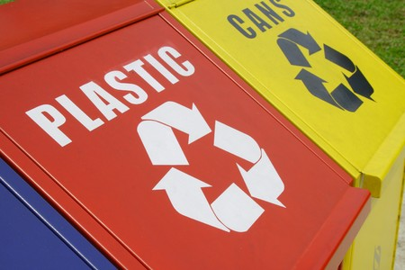 reusing: Recycle Bins Stock Photo