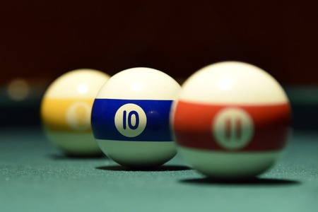 Billiard balls and cue on the pool table pool, ball, table 스톡 콘텐츠