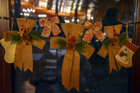 Christmas decoration handmade beige brown eco-friendly showcase new year dark