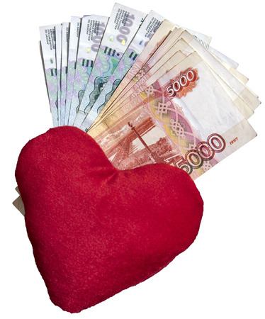Money rubles and red heart cash love