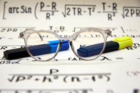 Mathematical background, handwritten formulas, points and floater Reklamní fotografie