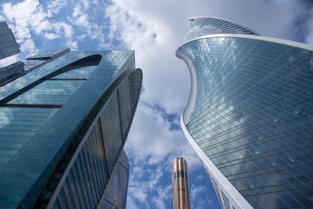 May 2019, Russia, Moscow.Bottom view of the business center Moscow city