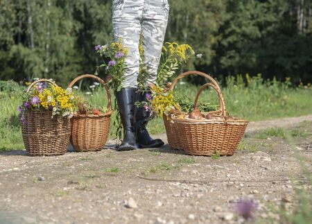 Woman in rubber boots with baskets of mushrooms and flowers on the forest road.The woman is photographed to the waist.