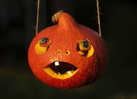 Bright orange Halloween pumpkin, carved with his own hands Stock fotó