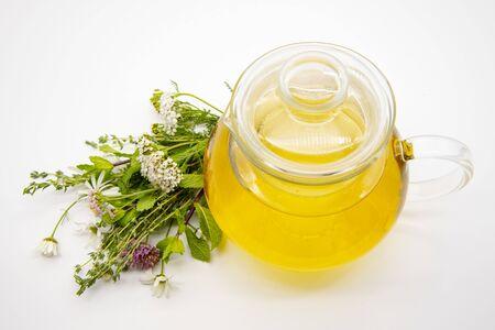 Teiera trasparente con tisana ed erbe medicinali su sfondo chiaro.