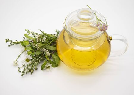 Transparent teapot with herbal tea and medicinal herbs on a light background. Banco de Imagens - 133627025