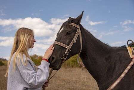A young girl with long blond hair gently strokes the brown horse's muzzle.