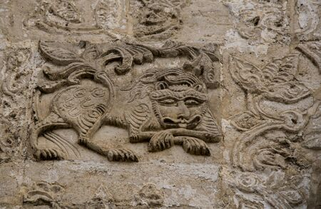 Russia, Yuriev-Polsky, November 2019. the image of a lion carved in stone. Editorial