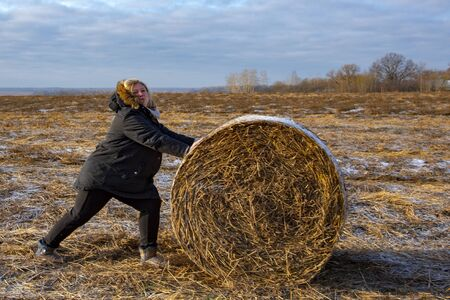 Russia, Vladimir region, November 2019. A woman pushes a twisted haystack in the field.