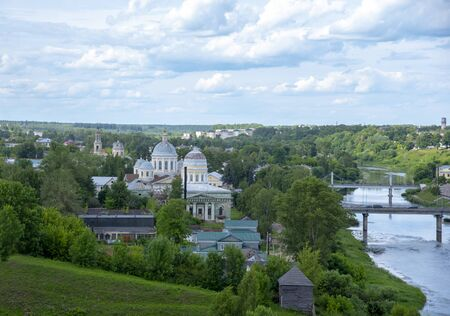 Torzhok. Town in Tver Oblast, Russia , June 2019, view of a small provincial town. Summer landscape.