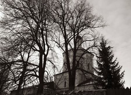 Black and white graphic landscape. Bare branches of trees and a Church against a cloudy sky.