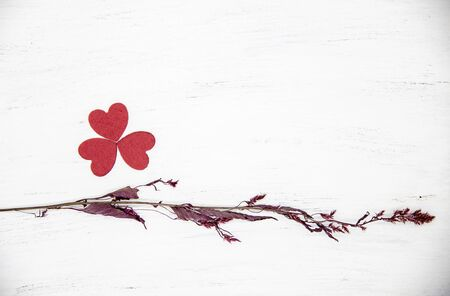Dry maroon branch and bright red hearts folded in the shape of a clover leaf on a light wooden background. Banco de Imagens