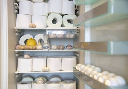 A supply of toilet paper , stored in the refrigerator with garlic, lemon , and ginger. A funny photo that symbolizes the panic of the coronavirus epidemic.