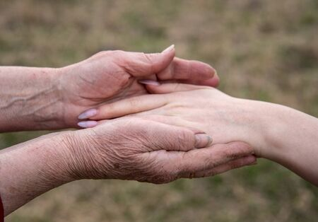 The hand of a young girl in the elderly hands of her grandmother on a blurred background of nature. Conceptual family photo, continuity of generations. Archivio Fotografico